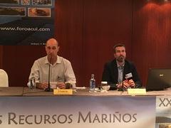 Fernando Sanz, de Skretting y Alberto Ruiz de Nutreco España en ForoAcui acuicultura