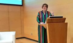 """La secretaria de Estado de Universidades e I+D+I, Ángeles Heras, durante la presentación de """"Científicas en Cifras 2017""""."""