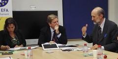 Alfonso Alcaide en Bruselas con Gabriel Mato acuicultura mejillón
