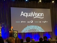 Ban Ki-moon durante su intervención en Aquavision acuicultura