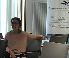 Yolanda Molares, cluster maganer de Acuiplus, durante la reunión de las Mirror Platforms de la Plataforma Tecnológica Europea de la Acuicultura (EATiP) en Berlín