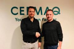 Harald Takle, Gerente I+D de Tecnología de Cultivos de Cermaq Group, (izq) y Eydbjørn Hansen, CEO de Sea Farm Innovations(dha). Foto: Cermaq Group acuicultura