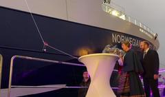 Ceremonia de bautizo del 'Norwegian Gannet'en Bergen acuicultura